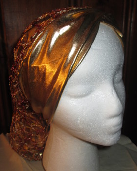 Gold Lame Snood with Twist Headband and Brown/Gold Overlay