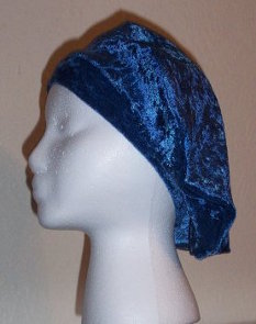 Royal Blue Beret from Crushed Panne'