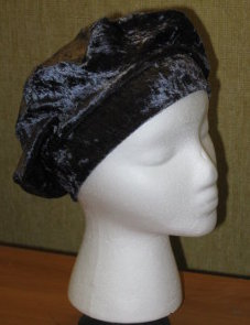 Steel Gray Stretch Panne' Beret