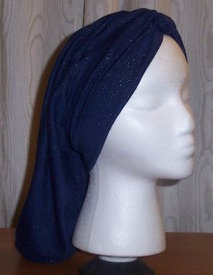 Rayon Snood in Sparkly Blue, twist