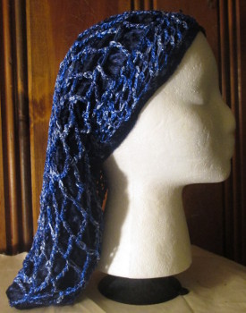 Shades of Blue Crocheted Overlay with Knitted Headband over Navy Velour Snood